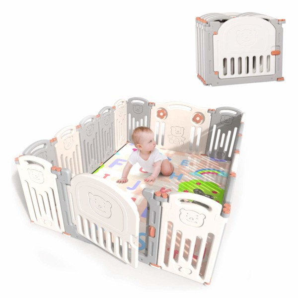 #4. kidsclub 16-Panel Foldable Baby Fence