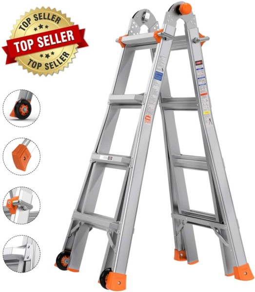 #6. TACKLIFE Heavy Duty Multi-Position Ladders
